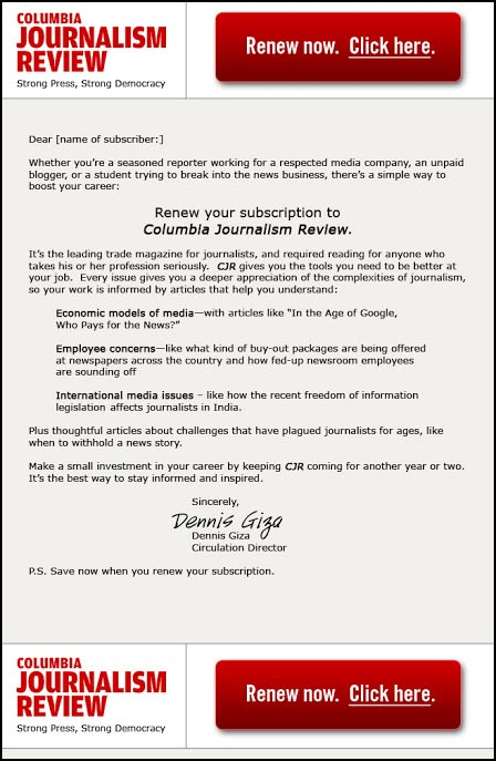 Columbia Journalism Review Acquisition Email - Rebecca Sterner