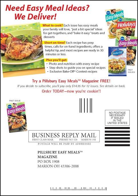 Pillsbury Recipe Cookbook Self-Mailer - Rebecca Sterner