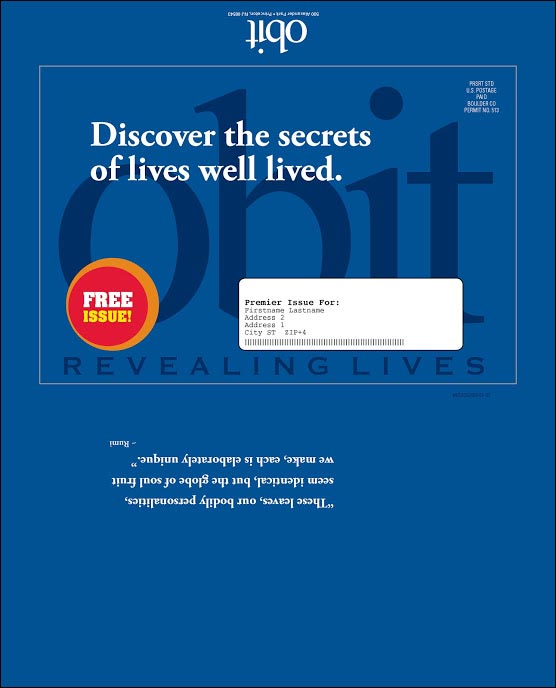 Obit Magazine Dry Launch Test Outer Envelope - Rebecca Sterner
