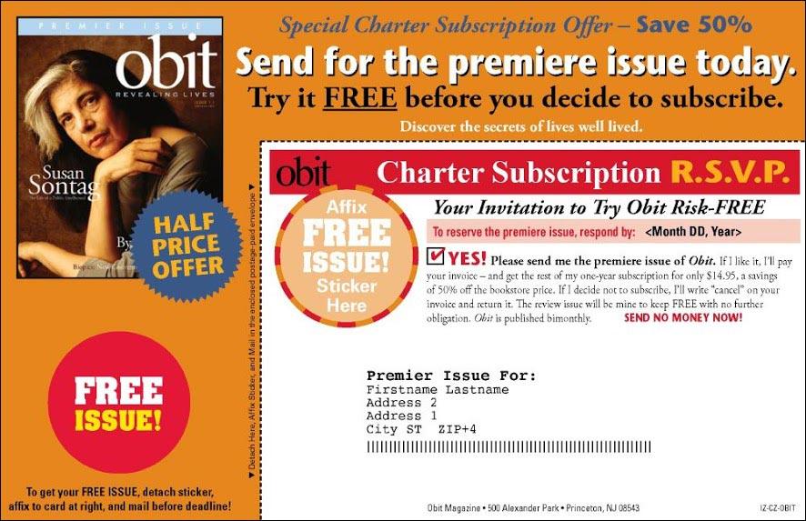 Obit Magazine Dry Launch Test Insert Card - Rebecca Sterner