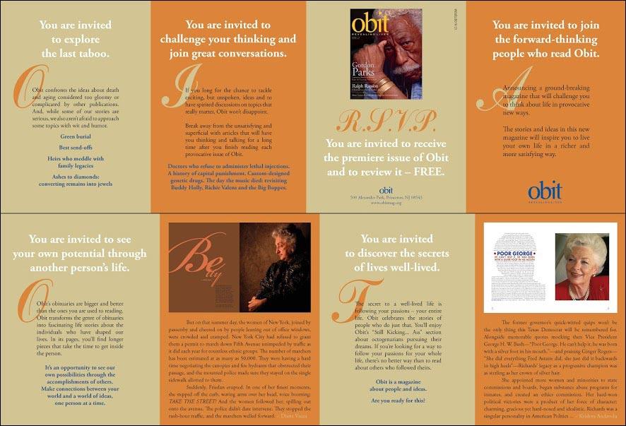 Obit Magazine Dry Launch Test Brochure - Rebecca Sterner
