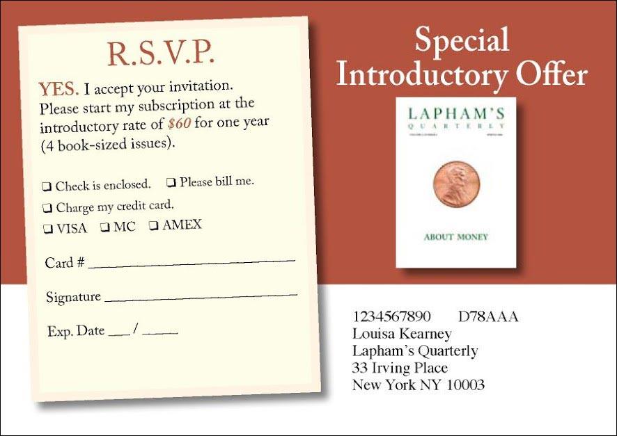 Laphams Quarterly Invitation Style Test Insert Card - Rebecca Sterner