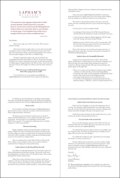 Laphams Quarterly Invitation Style Test Letter - Rebecca Sterner