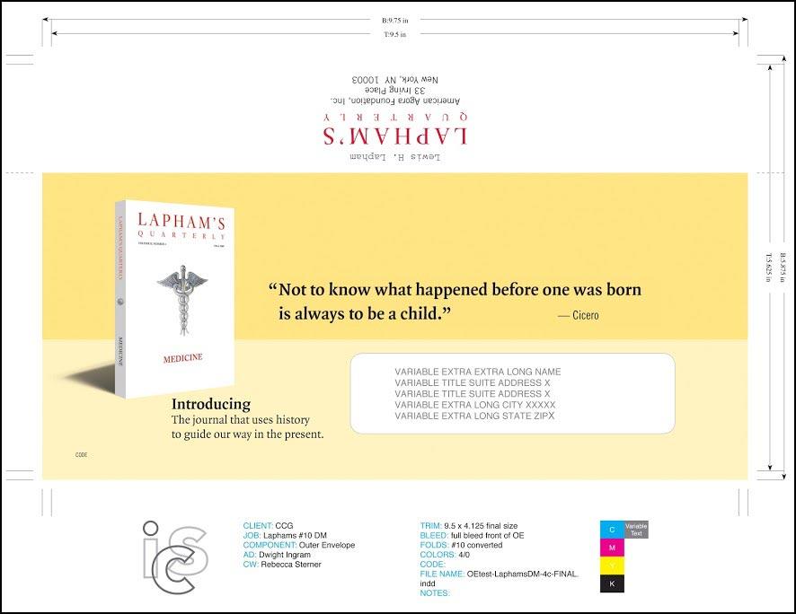 Lapham's Quarterly Outer Envelope - Rebecca Sterner