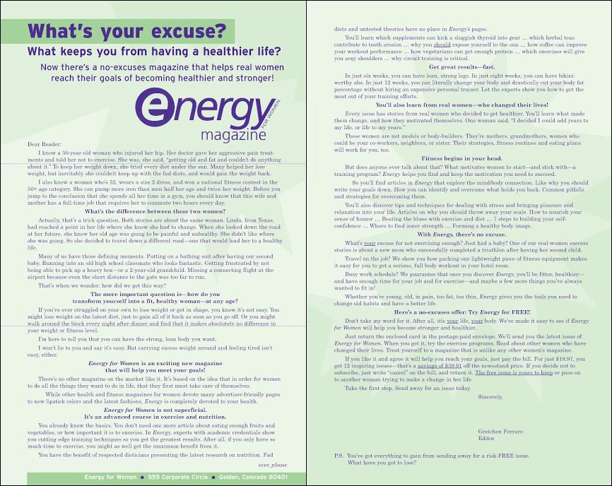 Energy For Women Direct Mail Control Letter - Rebecca Sterner