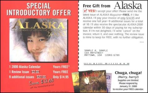 Alaska Direct Mail Test Insert Card - Rebecca Sterner
