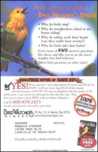 Bird Watcher's Digest Long Standing Control Insert Card - Rebecca Sterner