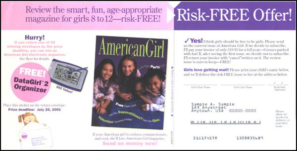 AmericanGirl Greeting Card Package Long Standing Control Insert Card - Rebecca Sterner