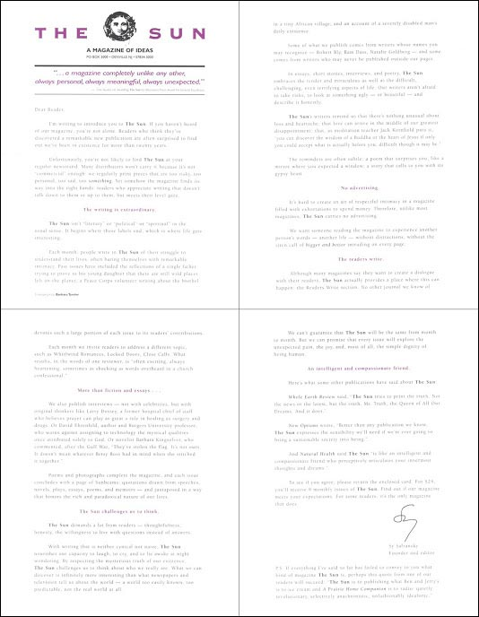 The Sun Direct Mail Test Letter - Rebecca Sterner